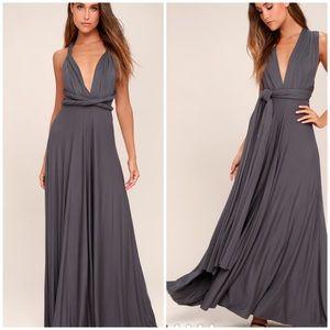 🆕LULU'S gray maxi dress multi-way dress
